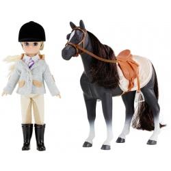 DŻOKEJKA zestaw lalka i koń 18 cm