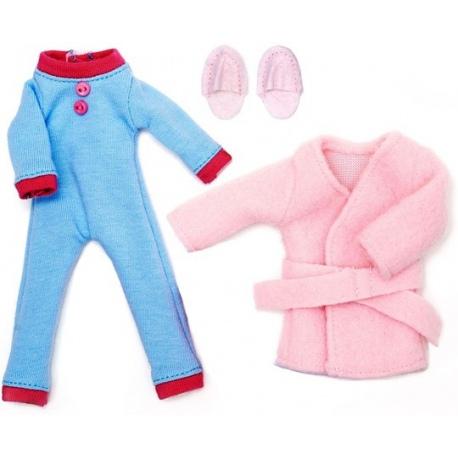 ZESTAW DO SPANIA piżama + szlafrok dla lalki 18 cm