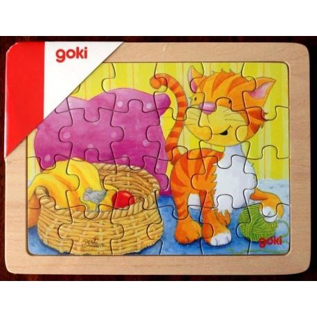 KOTEK drewniane puzzle