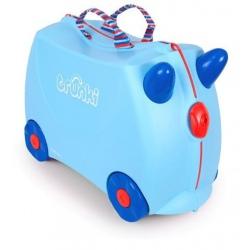 GEORGE jeżdżąca walizka z rogami niebieska
