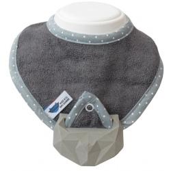 SZARY śliniak z kauczukowym gryzakiem SuperRRO Baby hevea