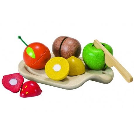 Drewniane owoce do nauki krojenia
