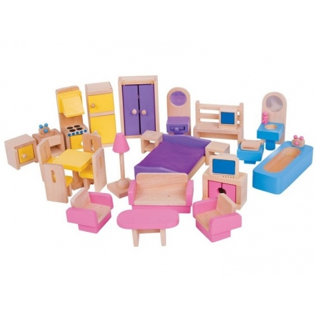 Drewniane mebelki do domku dla lalek