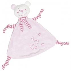 Płaska przytulanka miś dla niemowlaka różowy