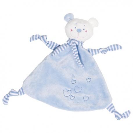 Płaska przytulanka miś dla niemowlaka niebieski