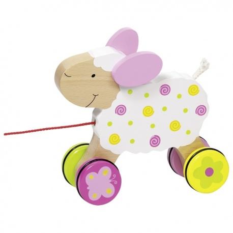 ZUZIA drewniana owieczka do ciągnięcia
