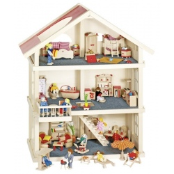 Duży drewniany domek dla lalek 3-piętrowy