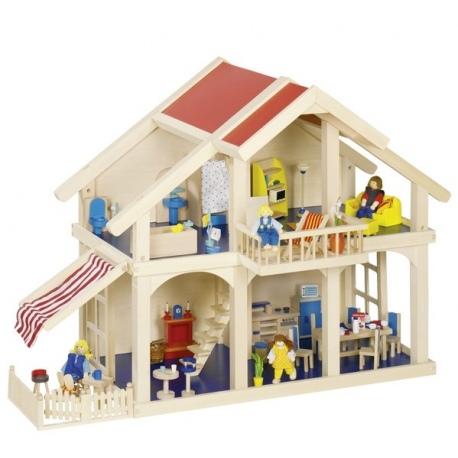 Duży drewniany domek dla lalek 2-piętrowy