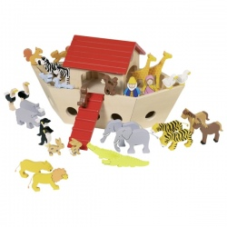 Drewniana Arka Noego + zwierzątka