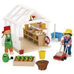 Drewniana szklarnia + akcesoria dla lalek