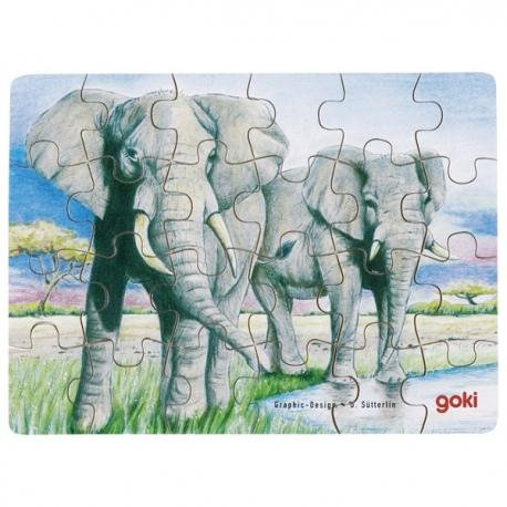 SŁONIE drewniane puzzle