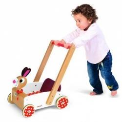 SZALONY KRÓLIK drewniany wózek na zabawki