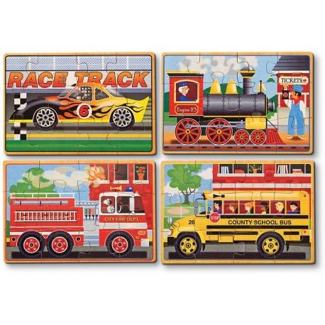 POJAZDY puzzle 4 w 1