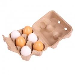 Drewniane jajka w wytłaczance