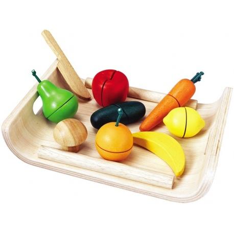 Drewniane warzywa i owoce nauka krojenia
