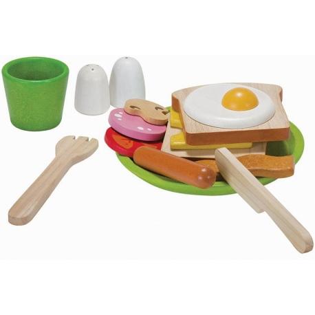 Drewniany zestaw śniadaniowy z naczyniami