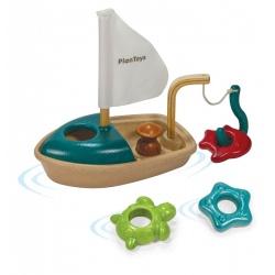 DREWNIANA ŁÓDKA zabawka do kąpieli