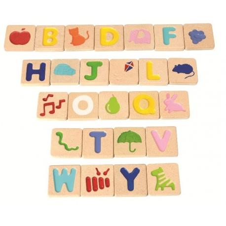Drewniany alfabet z obrazkami