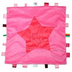 Różowy kocyk z metkami STARS XXL