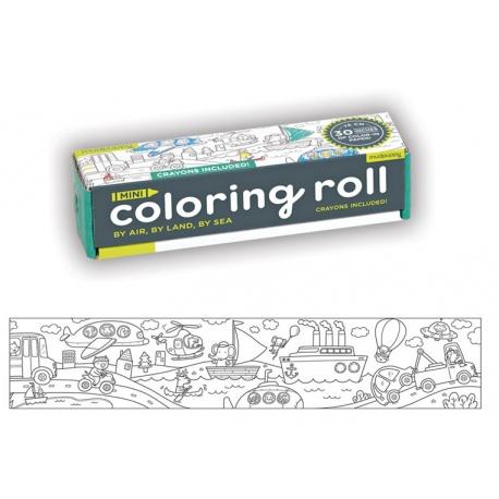ŚRODKI TRANSPORTU kolorowanka w rolce 76 cm z kredkami