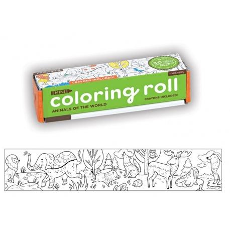 ZWIERZĘTA SWIATA kolorowanka w rolce 76 cm z kredkami