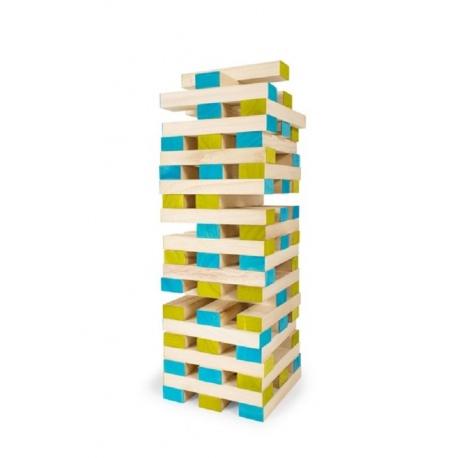 JENGA Z KOSTKĄ drewniana gra zręcznościowa