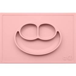 RÓŻOWY TALERZYK z podkładką 2w1 Happy Mat Pastel