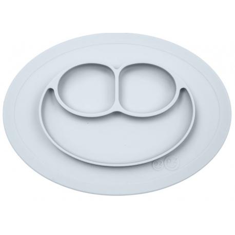 SZARY TALERZYK z podkładką 2w1 Mini Mat Pastel