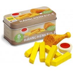 NÓŻKA Z KURCZAKA z frytkami i sosem w puszcze