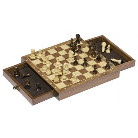 SZACHY drewniana gra strategiczna z szufladkami