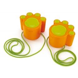 KOCIE ŁAPKI pomarańczowe szczudła ze sznurkami