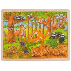 LEŚNE ZWIERZĄTKA drewniane puzzle 48 el.