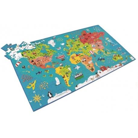 MAPA ŚWIATA puzzle tekturowe 150 el.