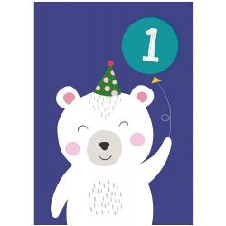 MIŚ POLARNY kartka okolicznościowa na pierwsze urodziny