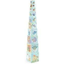 ZWIERZĄTKA piramida z pudełek Baby Bloki