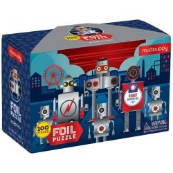 ROBOTY błyszczące puzzle tekturowe 100 el.