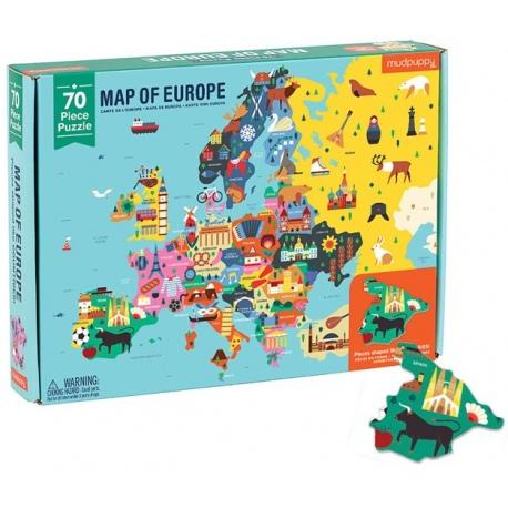 MAPA EUROPY puzzle z elementami w kształcie państw 70 el.
