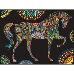KOŃ kolorowanka welwetowa obraz 47x35 cm