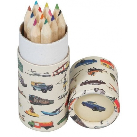 POJAZDY kredki ołówkowe w tubie 12 szt. Vintage