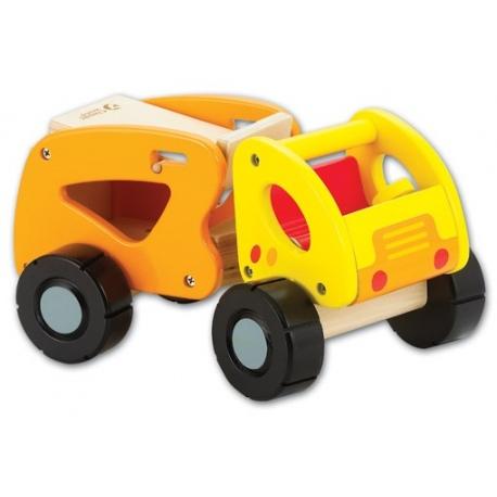OUTLET - DREWNIANA CIĘŻARÓWKA żółty pojazd