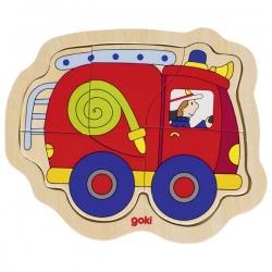 WÓZ STRAŻACKI drewniane pierwsze puzzle 5 el.