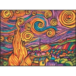 GWIAŹDZISTA NOC kolorowanka welwetowa 47x35 cm Van Gogh