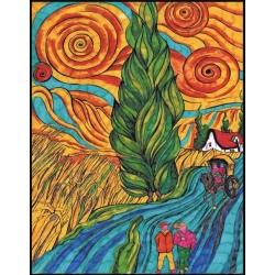 DROGA Z CYPRYSEM I GWIAZDĄ kolorowanka welwetowa 47x35 cm Van Gogh