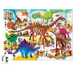DINOZAURY dzień w muzeum puzzle tekturowe 72 el.
