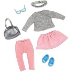 ZESTAW UBRANEK dla lalki 15 cm stylizacja srebrno-różowa Fashion Frenzy