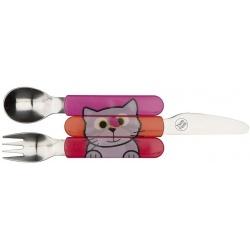 KOTEK zestaw sztućców nóż widelec łyżeczka