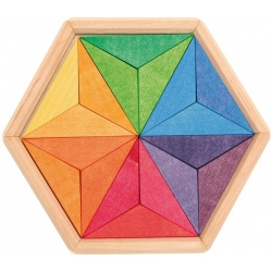 GWIAZDKA drewniana układanka geometryczna 18 el.