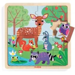 LAS drewniane puzzle 16 el.