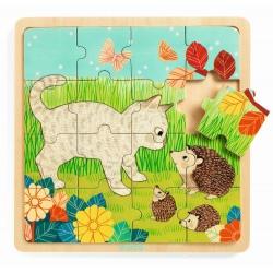 OGRÓD drewniane puzzle 16 el.