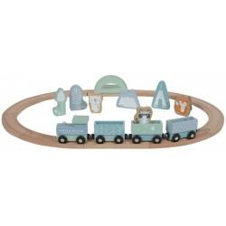 DREWNIANA KOLEJKA z lokomotywą blue